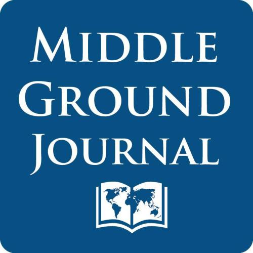 The Middle Ground Journal's logo is its name with an image of a book open to a map of the world.
